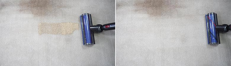 Dyson V7 cleaning quinoa on mid pile carpets