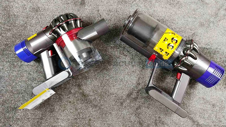 Dyson V8 and V10 comparing the dirt bin