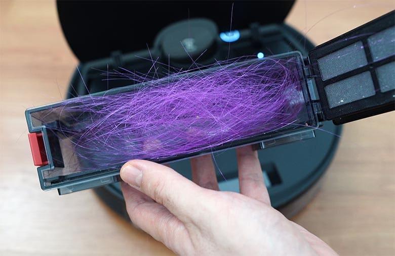 Ecovacs N8 Pro hair inside dustbin after five-inch test