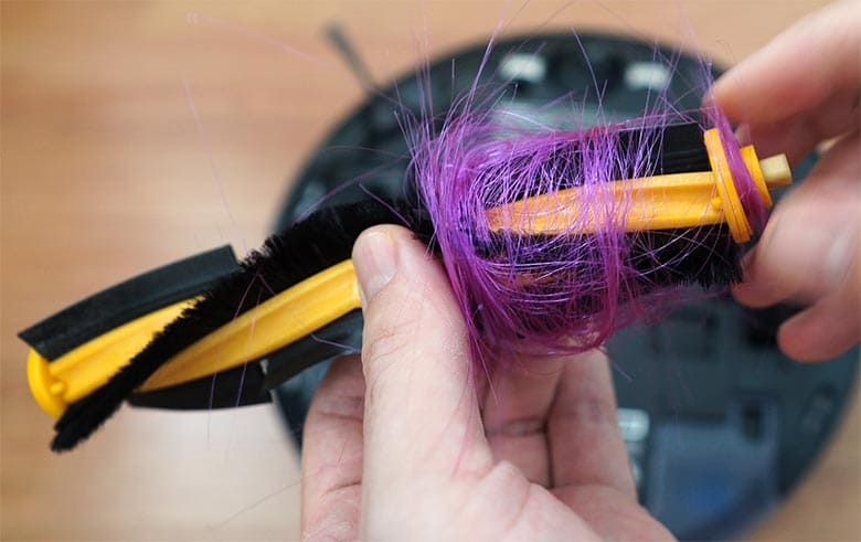 Ecovacs N8 Pro hair wrapped on the brush - 7 inch test