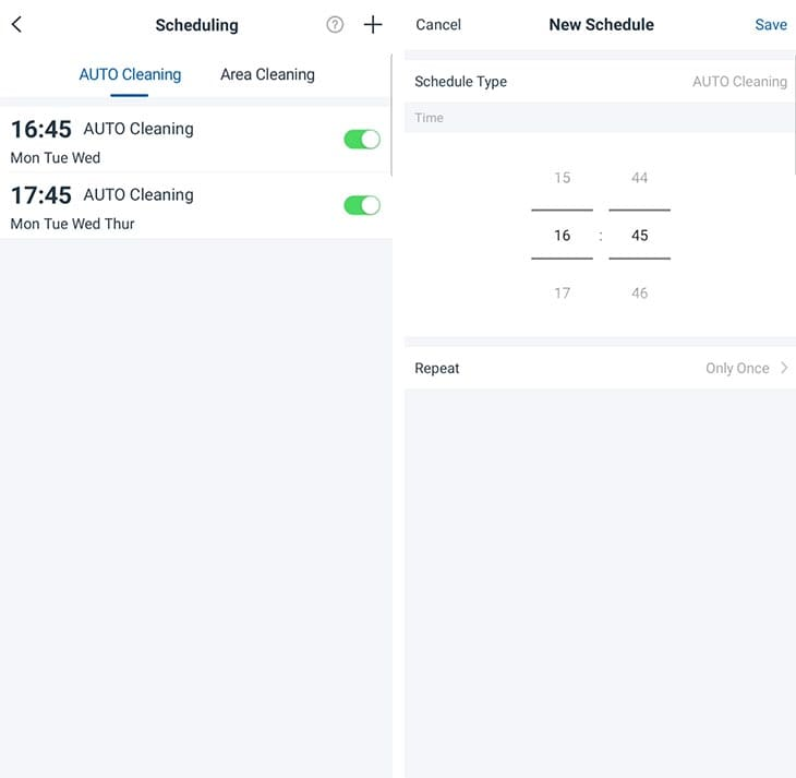 Ecovacs N8 Pro scheduling