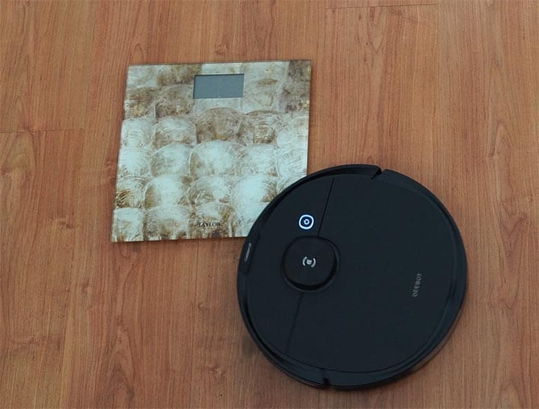 Ecovacs N8 Pro trying to climb weighing scale