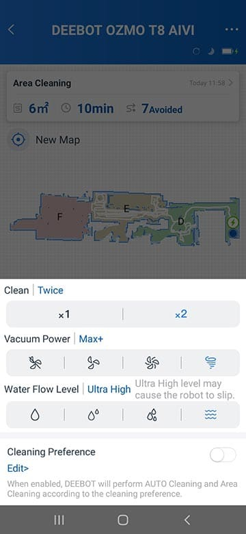Ecovacs T8 AIVI cleaning preference