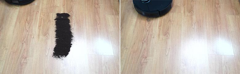 Ecovacs T8 AIVI cleaning coffee grounds on hard floor
