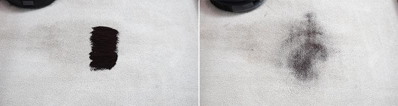 Ecovacs T8 AIVI cleaning coffee on mid pile carpet