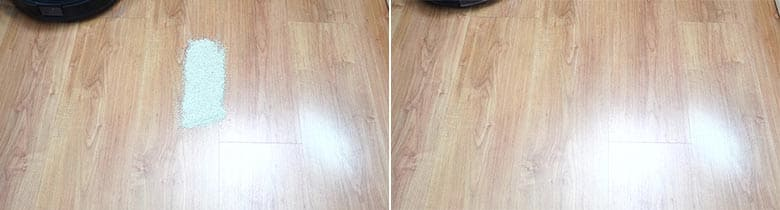 Ecovacs T8 AIVI cleaning pet litter on hard floor