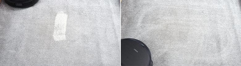 Ecovacs T8 AIVI cleaning pet litter on low pile carpet
