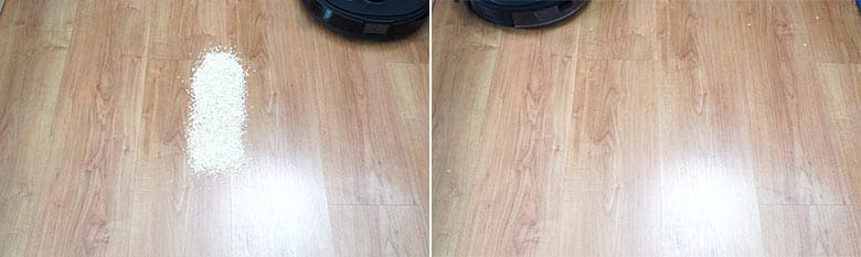 Ecovacs T8 AIVI cleaning quaker oats on hard floors