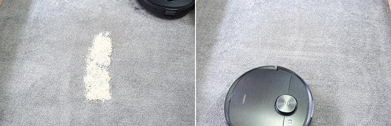 Ecovacs T8 cleaning quaker oats on low pile carpet