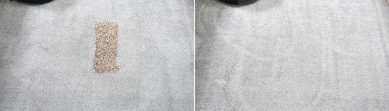 Ecovacs T8 AIVI cleaning quinoa on low pile carpet