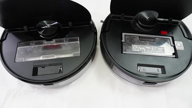 Ecovacs T8 AIVI vs Roborock S6 MaxV dustbin comparison