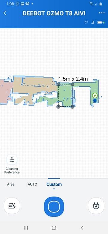 Ecovacs T8 AIVI custom area