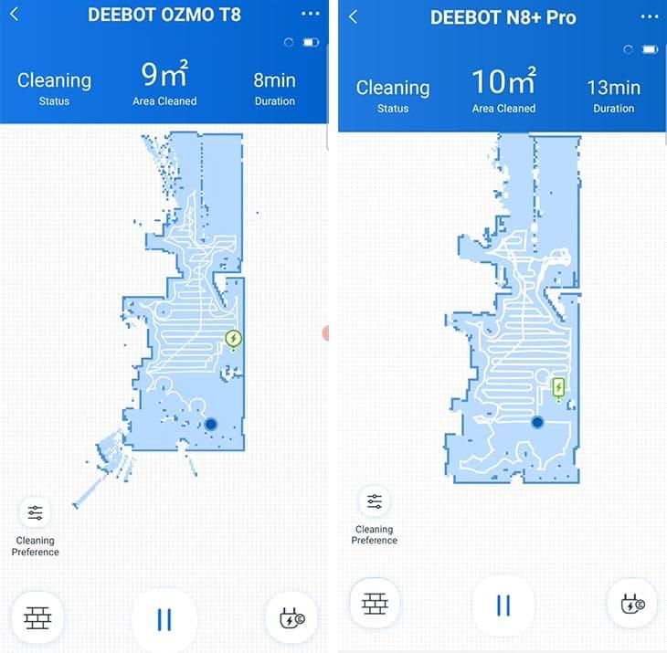 Ecovacs T8 vs N8 Pro live map