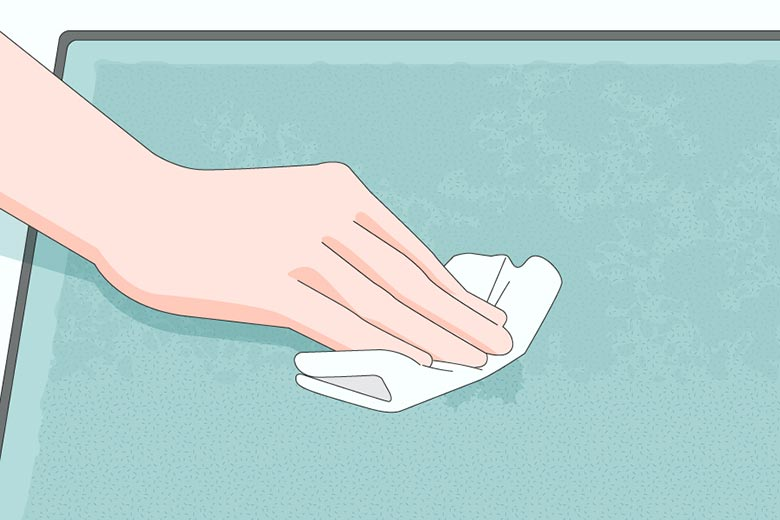 Blot any wet or runny feces with paper towels