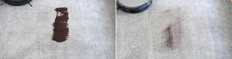 ILIFE A10 cleaning coffee grounds on low pile carpet