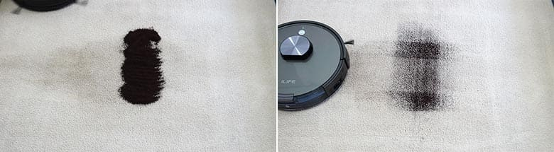 ILIFE A10 cleaning coffee on mid pile carpet