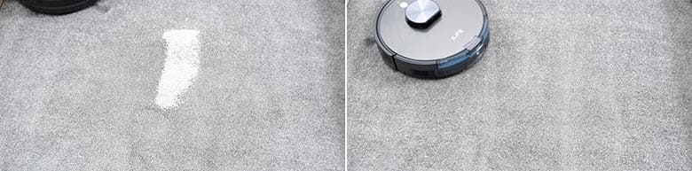 ILIFE A10 cleaning pet litter on low pile carpet