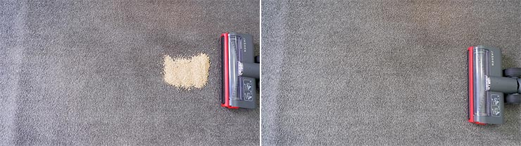 Jashen V16 cleaning quinoa on low pile carpet