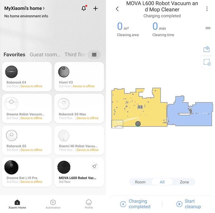 Mova L600 app interface