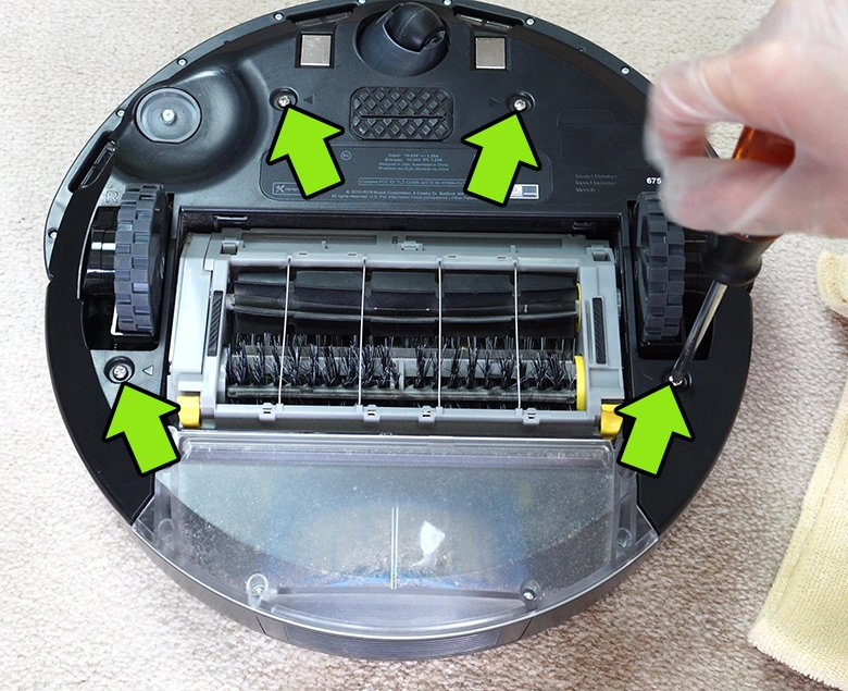 Remove Roomba bolts underneath