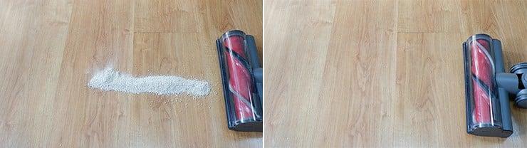Roborock H6 cleaning pet litter on hard floor