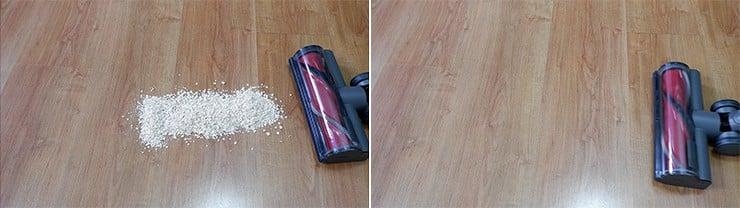 Roborock H6 cleaning quaker oats on hard floor