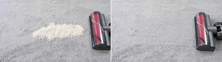 Roborock H6 cleaning quaker oats on low pile carpet