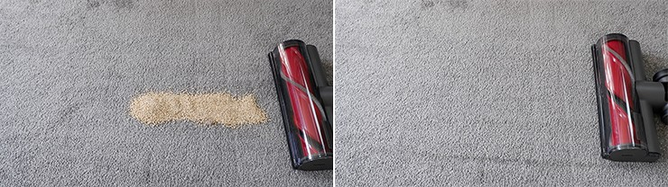 Roborock H6 cleaning quinoa on low pile carpet