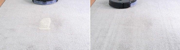 Roborock S6 MaxV cleaning pet litter on low pile carpet