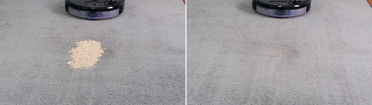 Roborock S6 MaxV cleaning quaker oats on low pile carpet