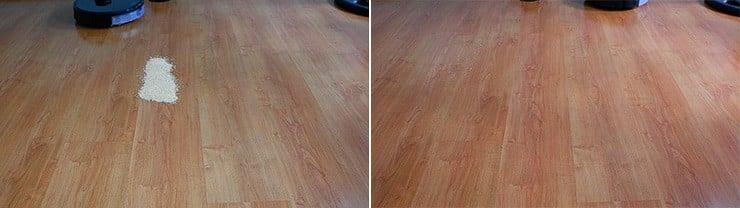 Roborock S6 MaxV cleaning quinoa on hard floors