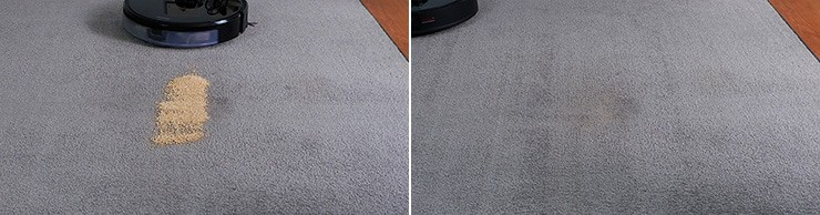 Roborock S6 MaxV cleaning quinoa on low pile carpet