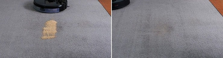 Roborock S6 MaxV cleaning quinoa on low pile carpet