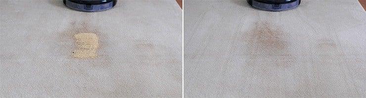 Roborock S6 MaxV cleaning quinoa on mid pile carpet