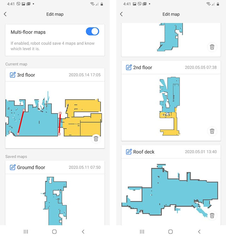 Roborock s6 MaxV multi level maps