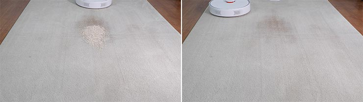 Roborock S6 Pure cleaning quaker oats on mid pile carpet