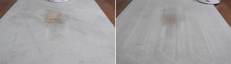 Roborock S6 Pure cleaning quinoa on mid pile carpet