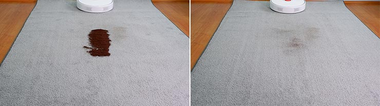 Roborock S6 Pure cleaning coffee on low pile carpet