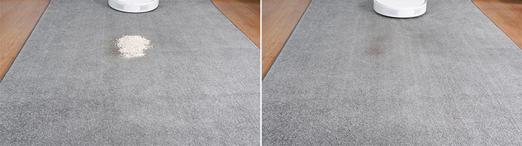 Roborock S6 Pure cleaning quaker oats on low pile carpet