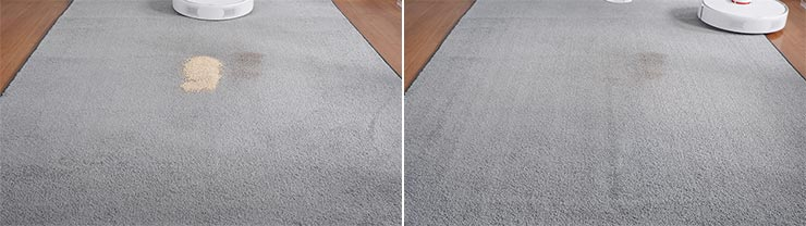 Roborock S6 Pure cleaning quinoa on low pile carpet