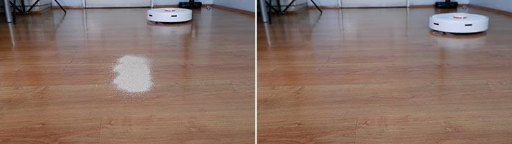 Roborock S6 Pure sand on hard floor test
