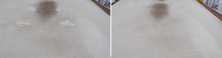 Roborock S5 Max quaker oats on mid pile carpet