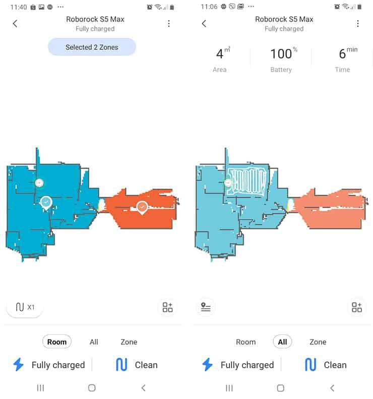 Roborock S5 Max app screenshot