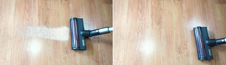 Roidmi X30 cleaning quinoa on hard floors