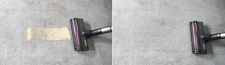 Roidmi X30 cleaning quinoa on low pile carpet