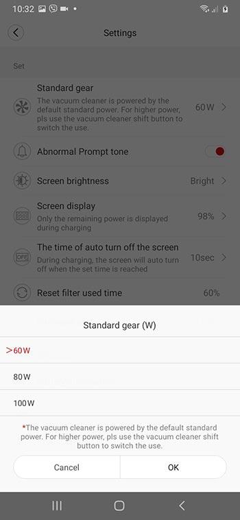 Roidmi X30 app standard gear option