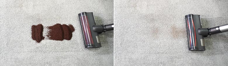 Roidmi X30 cleaning coffee grounds on low pile carpet