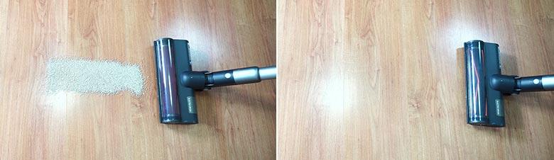 Roidmi X30 cleaning pet litter on hard floors