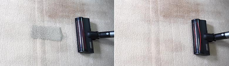 Roidmi X30 cleaning pet litter on mid pile carpets