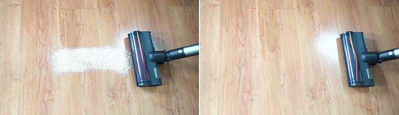 Roidmi X30 cleaning Quaker oats on hard floors